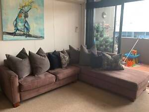 Brown modular chaise sofa/couch with cushions
