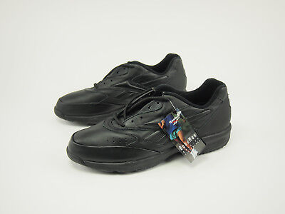 ff793ef25c6 New 1990s REEBOK WALK Vintage Black Leather DynaMax Walking Shoes 13