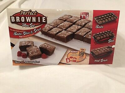 PERFECT BROWNIE PAN SET NON-STICK COMPLETE with BOX and booklet  Perfect Brownie Pan Set