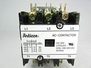 CONTACTOR 30AMP 3 POLES 240VAC/ 50/60Hz/ A/C, REFRIGERATION-UL CERTIFIED