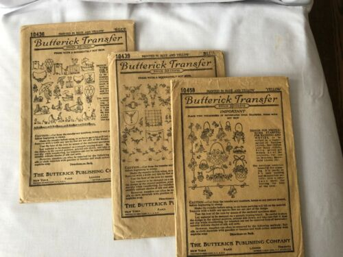 Butterick Antique Embroidery Hot Iron Transfers Trio 1900s Brown Kraft Envelope