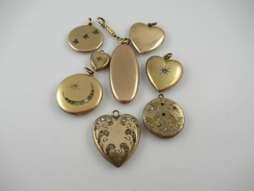 8 Antique Victorian, Antique Gold Filled Lockets With Monograms