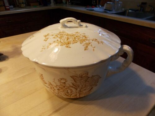 Vintage/Antique Brown TransferWare StoneWare Chamber Pot and Lid