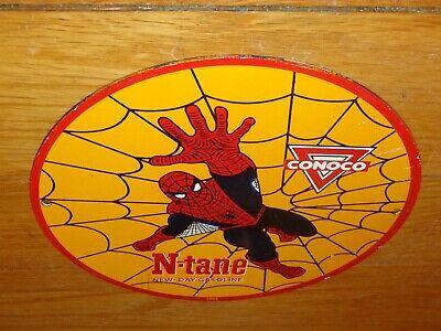 "VINTAGE 1962 SPIDER MAN NTANE CONOCO GASOLINE 10"" PORCELAIN METAL COMIC OIL SIGN"