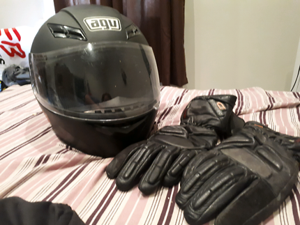 Road bike helmet and dri rider gloves