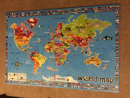 World felt map 100 pieces for kids 20 negotiable toys indoor world map floor puzzle incl flags gumiabroncs Choice Image