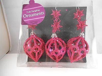 Lot Of 3 Christmas Dangling Ornaments Plastic Chandelier Glitter Purple Big Lots