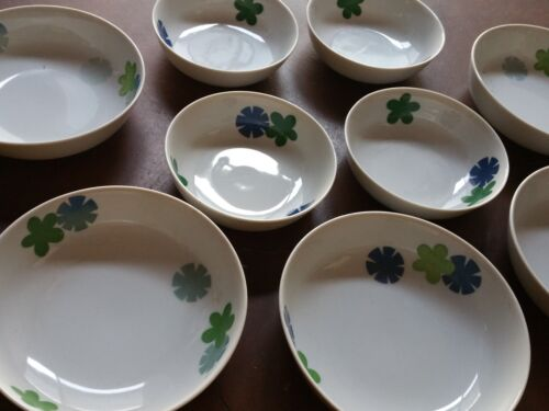 8 THOMAS & CO BLUE GREEN CONFETTI BOWLS CUPS CEREAL MID CENTURY MODERN STARBURST