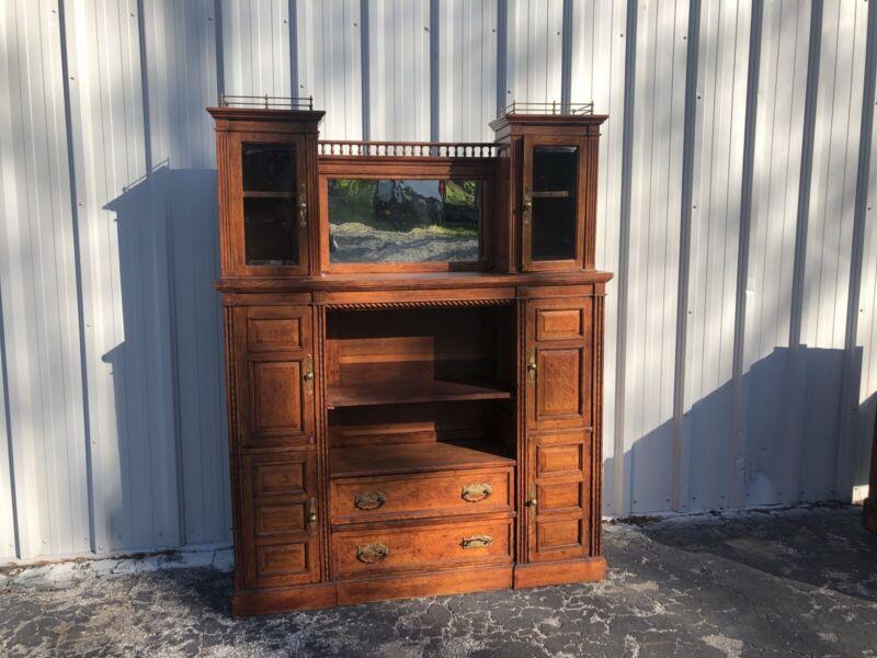 "Unusual Antique Tiger Oak Raised Paneled Bookcase/Cabinet 76"" X 59"" X 14"""