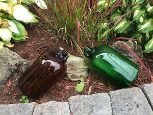 2 ANTIQUE COLOURED GLASS JUGS