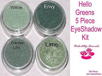 5 Lot Minerals Eye Shadow Set Bare Makeup Green Kit Sample Size New/Sealed ()