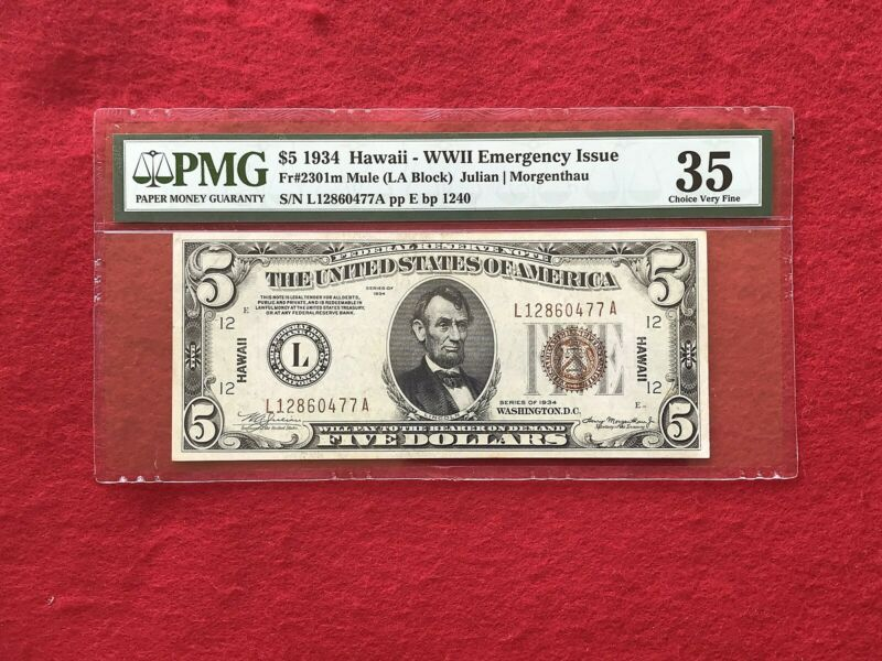FR-2301m MULE 1934 Series Hawaii WWII $5 Federal Reserve Note *PMG 35 Choice VF*