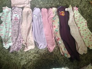 Baby girl sleepers- lot