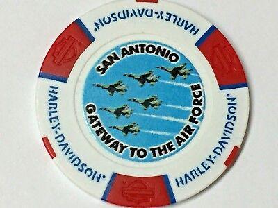 Harley Poker Chip  CALIENTE HD   SAN ANTONIO, TX    RED, WHITE & BLUE  AIR FORCE