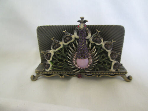 Peacock Card Holder Bejeweled Decorative Metal Holder W/ Large Opalescent Stone