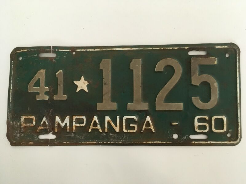 1960 Pampanga Philippines License Plate 100% All Original SELLER IN USA
