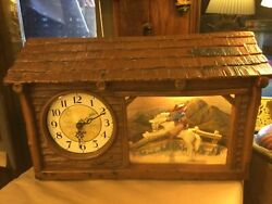 RARE HADDON 1950s ELECTRIC RANCHO CLOCK W/ COWBOY & BUCKING BRONCO - WORKS
