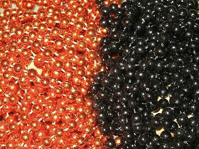 Orange Mardi Gras Beads (48 (4 DOZEN) BLACK & ORANGE MARDI GRAS BEADS-PARTY FAVORS- FREE)