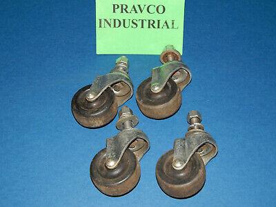 Lot Of 4 Swivel 2 Caster Wheel .375 Threaded Stem