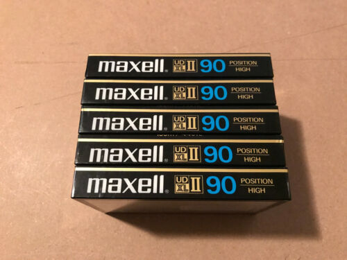 Set of 5 New Sealed Maxell UDXLII 90 Cassettes TapesType II Made In Japan