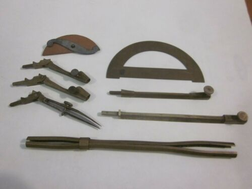 Antique Brass Drawing Drafting Compass Protractor &Extras Set Architect Engineer