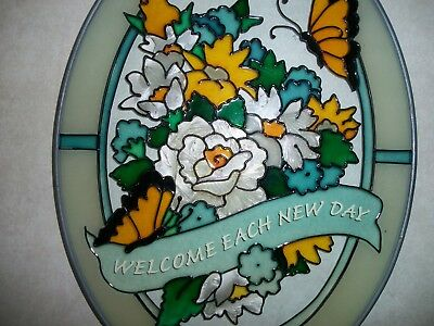 Stained Glass Plaque with Flowers and Butterflies and