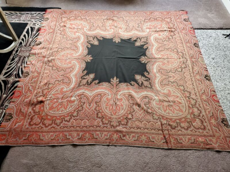 "72""x73"" Antique Paisley Wool Piano Shawl Victorian Scarf Throw"