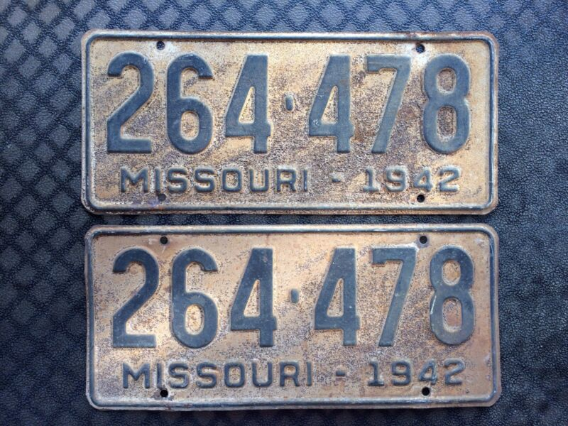 1942 MISSOURI LICENSE PLATES 264 478