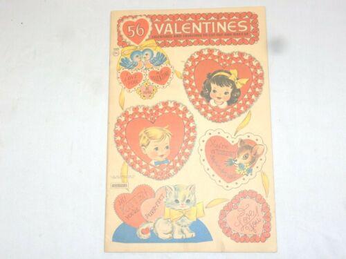 Vintage 56 VALENTINES~Valentines & Envelopes Book~Saalfield~New!
