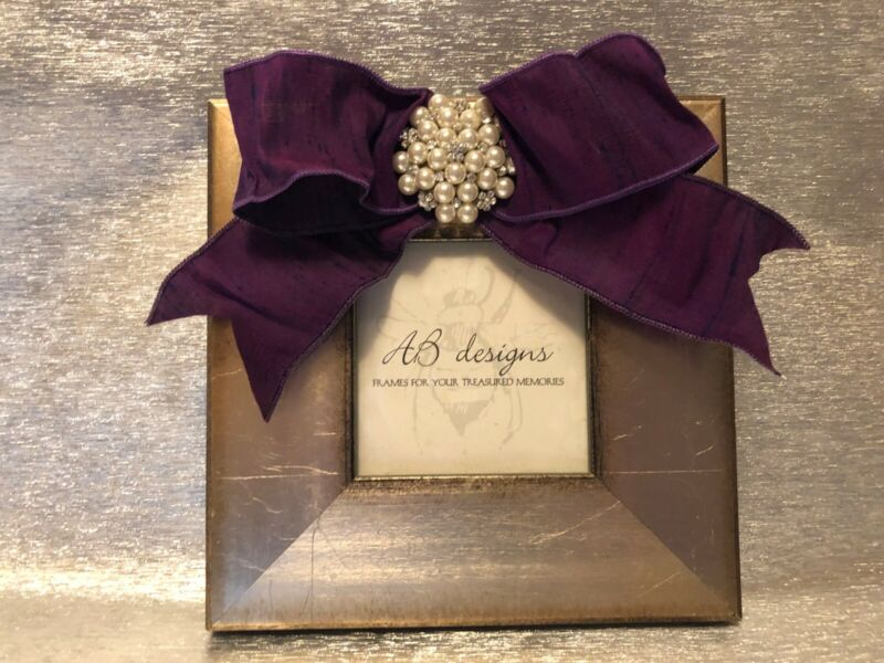 AB Designs Picture Frame Lavendar Bow with Pearl & Crystal Accent