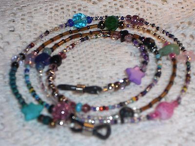 """Unique Eyeglass Chain~Crazy Mixed Up Funky Colored Beads~28""""~Buy 3 SHIP FREE"""