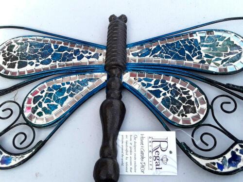 2 Dragonfly Wall hanging Metal Glass Mosaic Handmade Garden Decor Regal Art