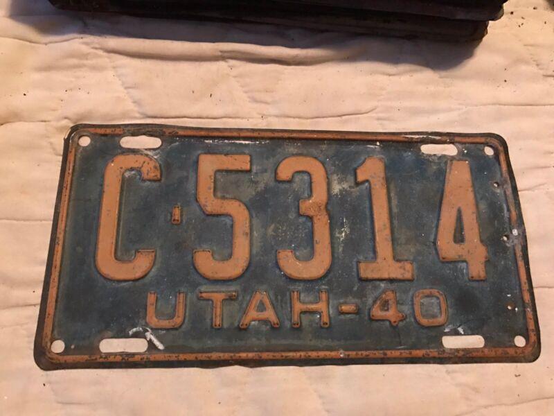 1940 UTAH LICENSE PLATE C 6314