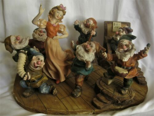 """Old BLONDE SNOW WHITE and the 7 DWARFS Display Statue Figurine 15""""x10""""x8"""" RARE!"""