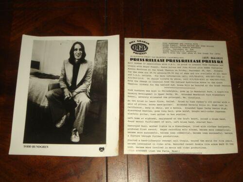 Ultra Rare TODD RUNDGREN Utopia 1979 PRESS KIT BILL GRAHAM PRESENTS Berkeley, CA