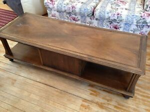 Long, wooden coffee table