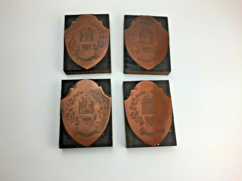 VTG Smooth Copper Printing Blocks Printers Plates Lot 4 Baseball Basketball Swim