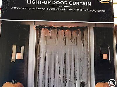 Dorm Door Decorations Halloween (Lighted Gauze Door Curtain Halloween Decoration Spooky DORM must-have Prop)
