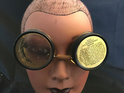 Old Vtg Welding Cutting Safety Goggles Steampunk Cosplay Adjustable Strap