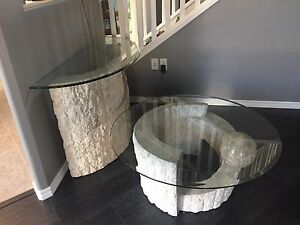 Glass top coffee and end table set