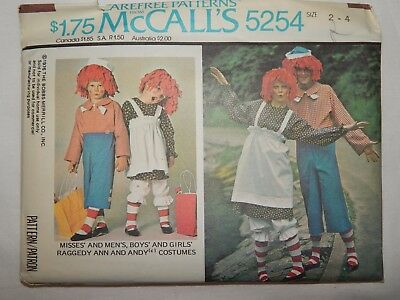 Raggedy Ann Andy Costumes Sewing Pattern McCALLS 5254 Boys Girls size 2- 4 - Andy Costumes
