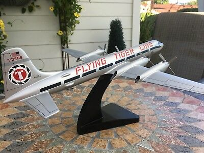 Flying Tiger Line, Flying Tigers Airline, CL-44 wood model w/stand