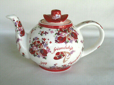 Paul Cardew Red Hat Society PINK CHINTZ teapot 2004