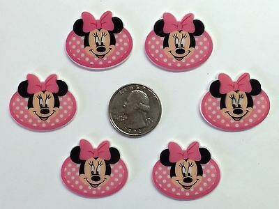 6 Pcs Lot Minnie Mouse Flatback Resin Cabochon Hair Bow Center Supply. for sale  Perris
