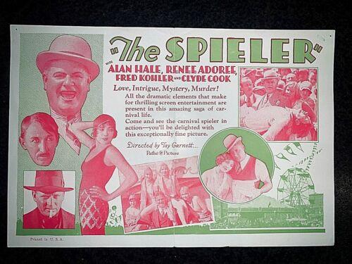 """THE SPIELER"" 1928 MOVIE HERALD - ALAN HALE, RENEE ADOREE, FRED KOHLER"