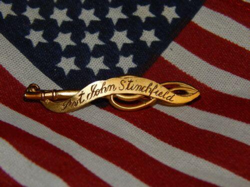 RARE DAR Ancestor Patriot Pin Pvt John Stinchfiled JE Caldwell Hand Engraved