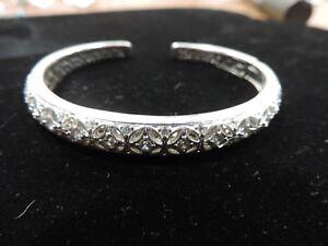 Tacori Sterling Silver CZ Hinged Kick Cuff Bracelet