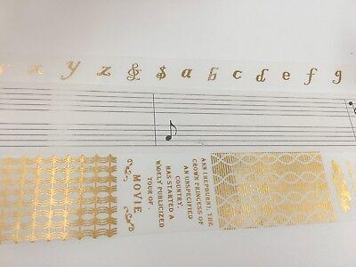 Gold Glitter Tape (Gold Foiled Crackle Music Notes Glitter Metalic Washi Tape Alphabet)