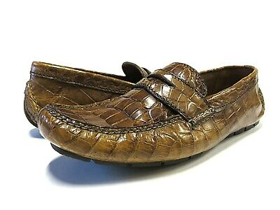 NEW Polo Ralph Lauren Honey Alligator Stapleton Moccasin Loafer Men's Sz 8.5 D