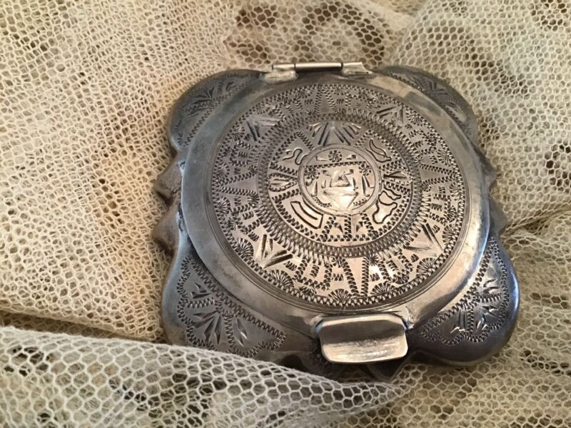 Vtg Mexico Style Sterling Silver 925  Compact Ornate Design